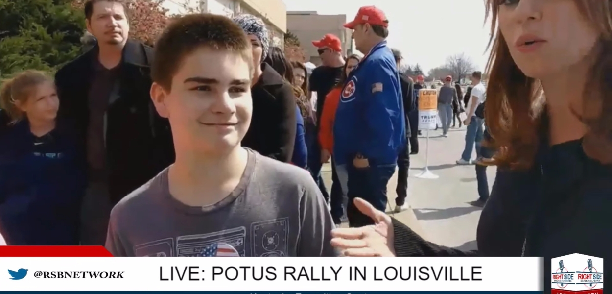 Margaret J. Howell is interviewing one of the younger participants at POTUS rally in Louisville, Kentucky.