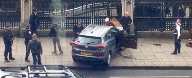 Terrorist's car crashed into Parliament fence.