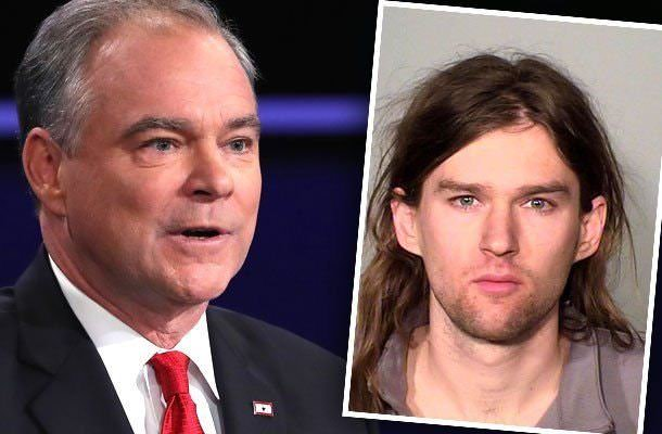 Woody Kaine mug shot (right). Son of Clinton running mate, Tim Kaine, Woody Kaine's mug shot after being arrested for violence.